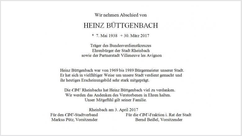 Trauer um Heinz Büttgenbach