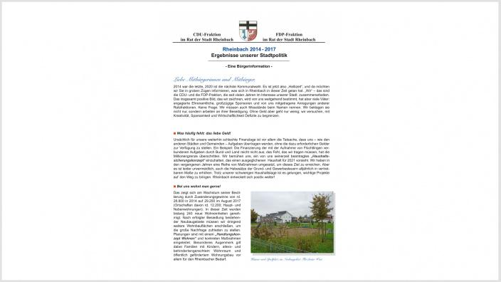 Rheinbach 2014 - 2017 Ergebnisse unserer Stadtpolitik